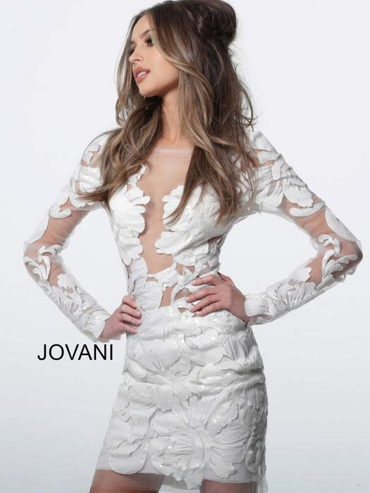 Jovani - Long Sleeve Sheer Soutache Dress