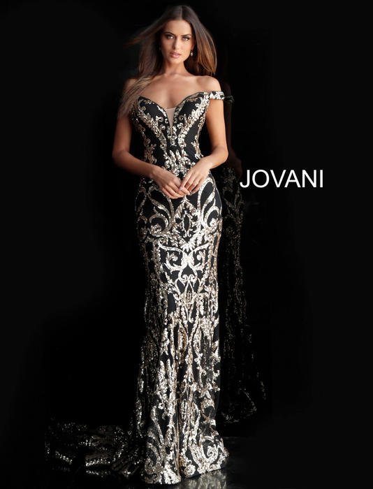 Jovani - Tulle Sequin Off Shoulder Gown