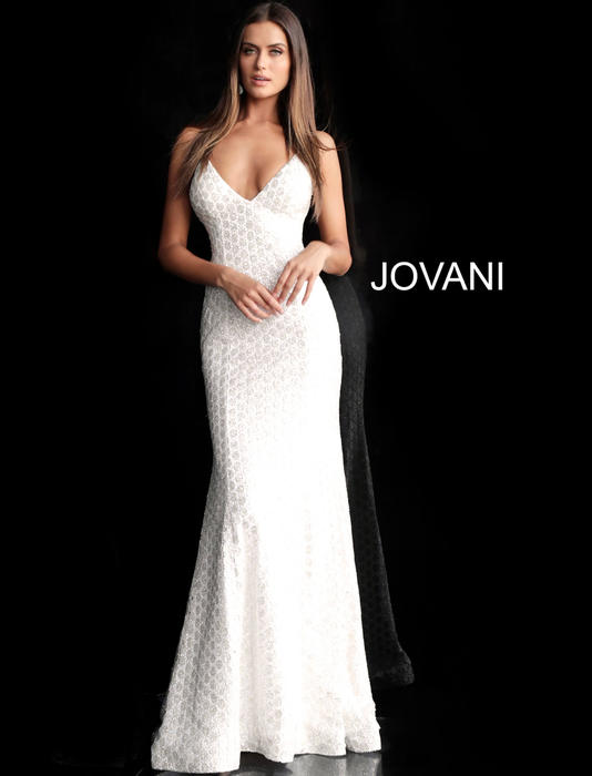 Jovani - Lace Embellished Gown Spaghetti Strap