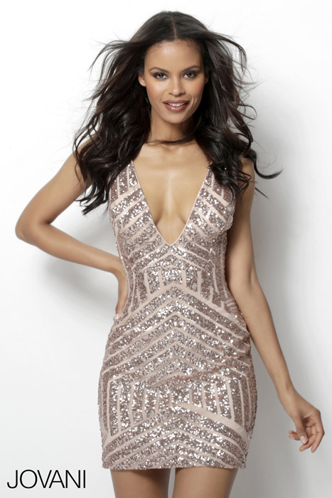 Jovani - Sequined Deep V-Neck Open Back Cocktail Dress