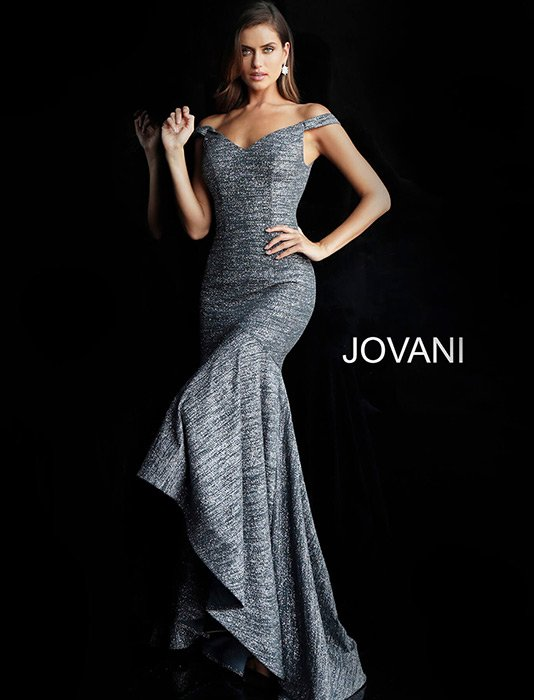 Jovani - Off The Shoulder Metallic High Low Gown