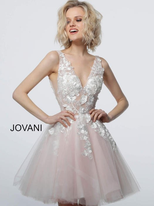 Jovani - Short Embroidered V-Neck Fit & Flare Dress