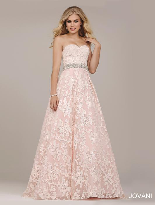 Jovani - Strapless Embroidered A-Line