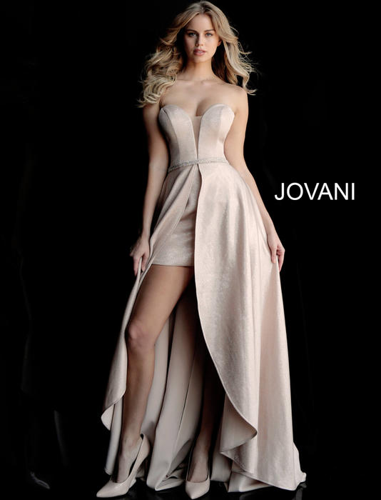 Jovani - Satin Metallic Beaded Gown