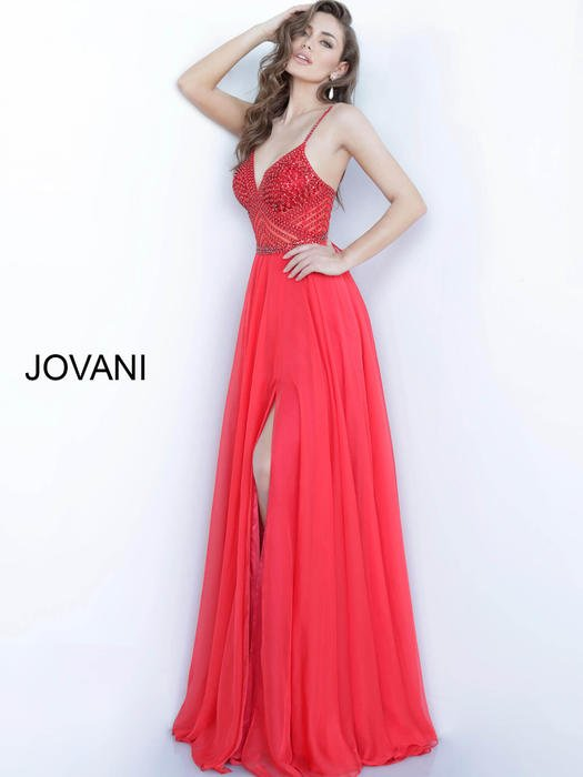 Jovani - Chiffon Beaded Bodice Gown