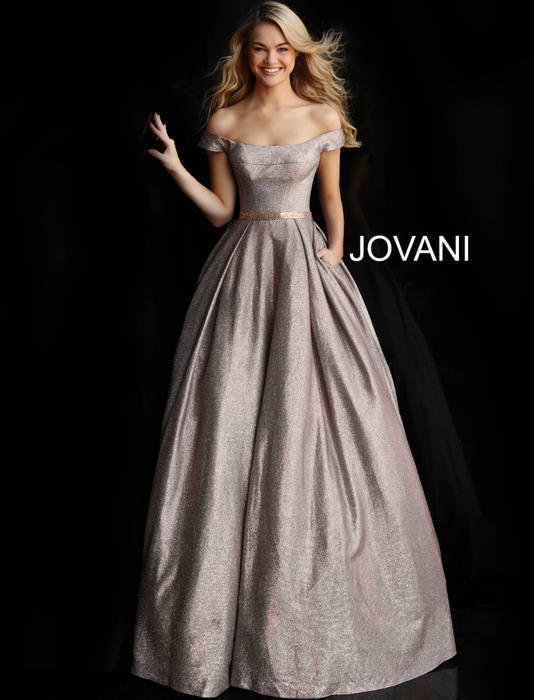 Jovani - Off The Shoulder Metallic Ballgown