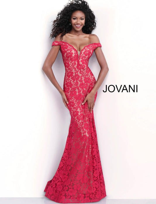 Jovani - Lace Beaded Gown Off The Shoulder