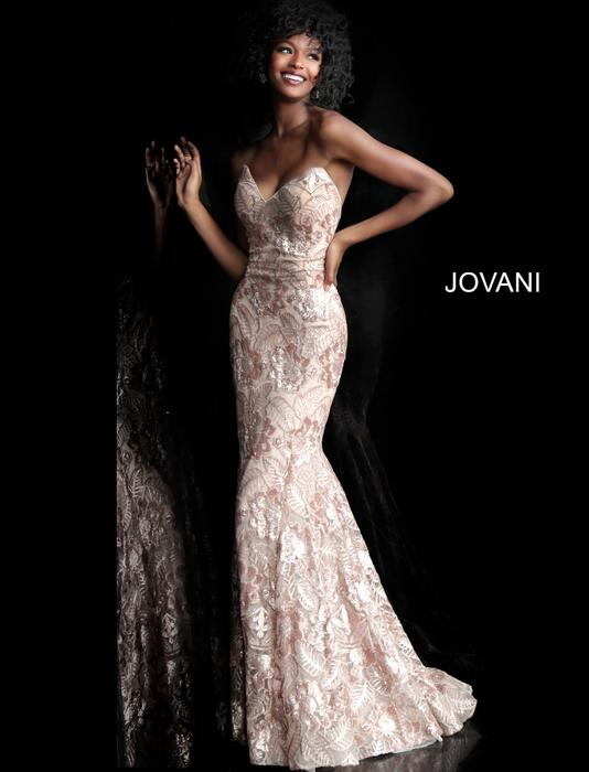Jovani - Embroidered Metallic Strapless Gown with Scarf