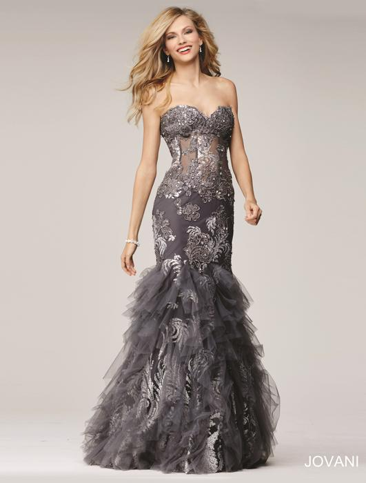 Jovani - Strapless Tiered Tulle Mermaid Gown