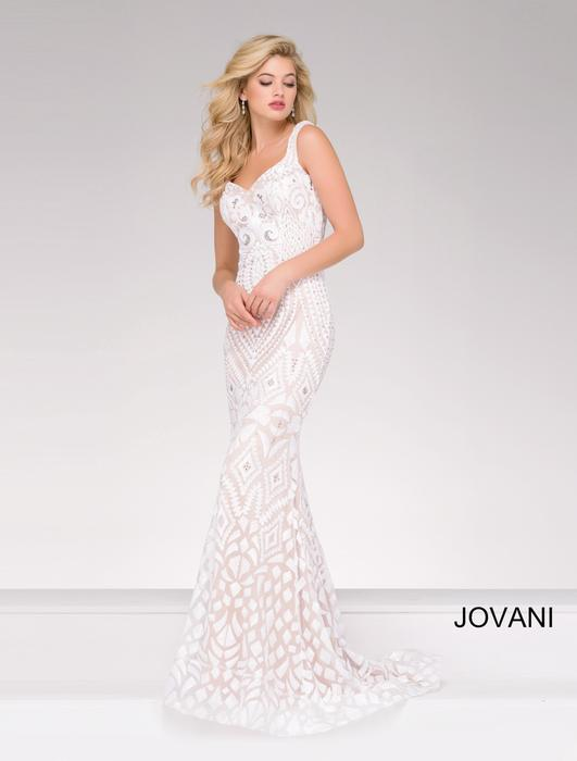 Jovani - Patterned Sequin Sheath Gown