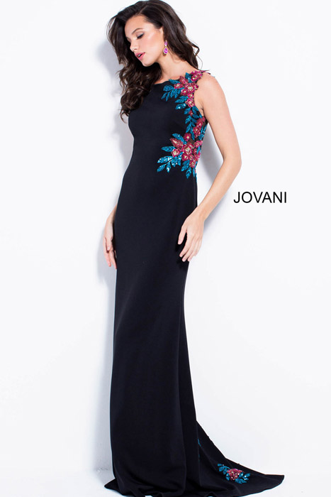 Jovani - Satin Gown Beaded Sheer Back