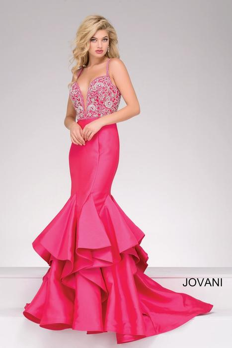 Jovani - Beaded Satin Ruffle Mermaid