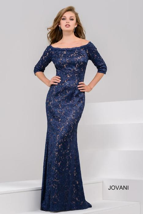 Jovani - Lace Long Sleeve Gown