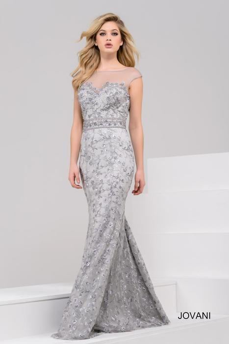 Jovani - Embroidered Illusion Sheath Gown