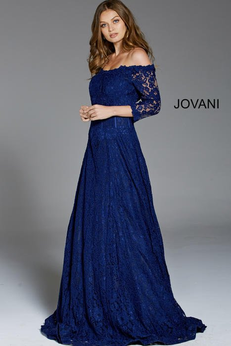 Jovani - Long Sleeve Off Shoulder Lace Gown