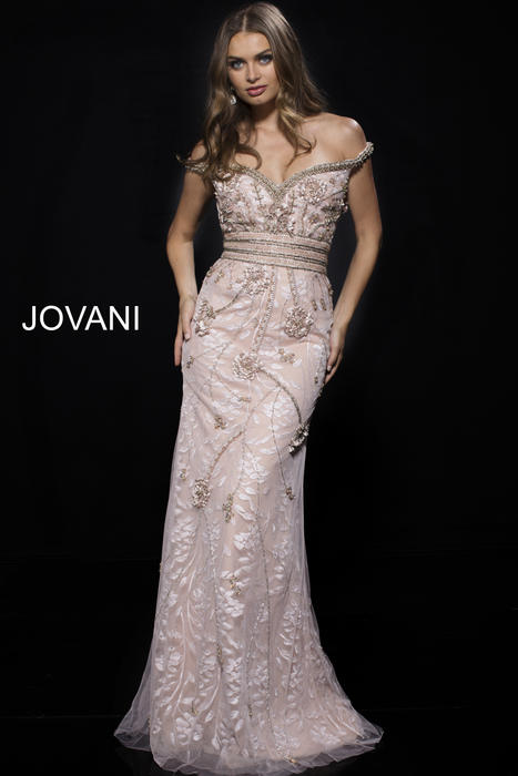 Jovani - Lace Beaded Gown