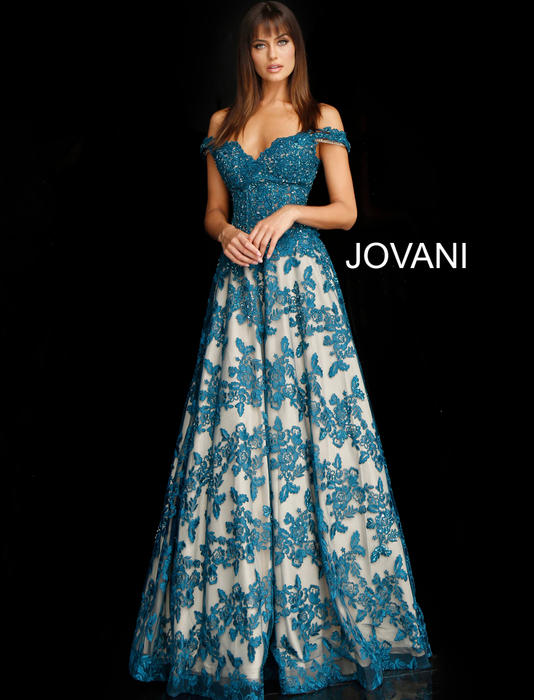 Jovani - Mesh Embrodered Gown Beaded Bodice