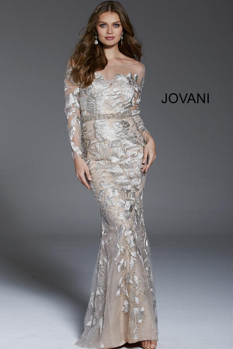 Jovani - Mesh Embrodered Gown Long Sleeve