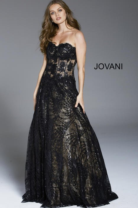 Jovani - Lace Strapless Metallic Gown