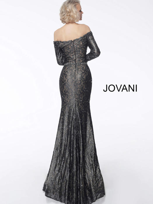 Jovani - Scalloped Off the Shoulder Beaded Gown