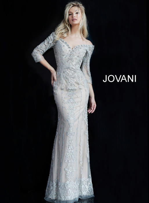 Jovani - Long Sleeve Mesh Embroidered Gown