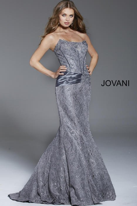 Jovani - Strapless Lace Beaded Gown