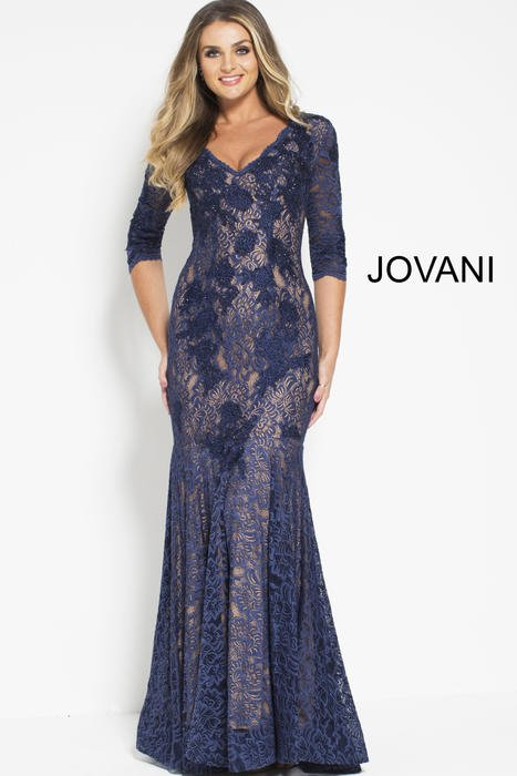 Jovani - Long Sleeve Lace Beaded Gown
