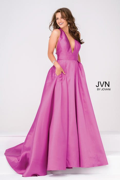 Jovani - Satin V-Neck A-Line Gown w/ Pockets