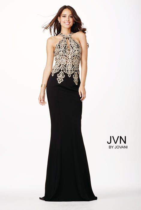 Jovani - Embroidered Jersey Halter Sheath