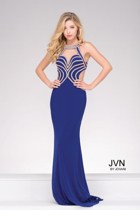Jovani - Beaded Halter Jersey Sheath Gown