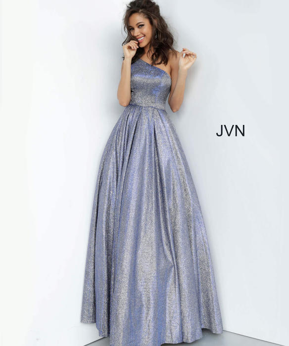 Jovani - Satin Metallic One Shoulder Ballgown