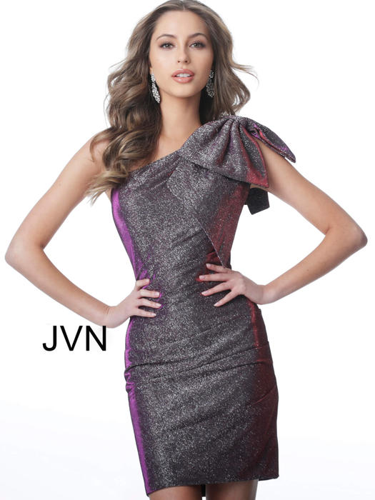 Jovani - Metallic One Shoulder Wrap Dress