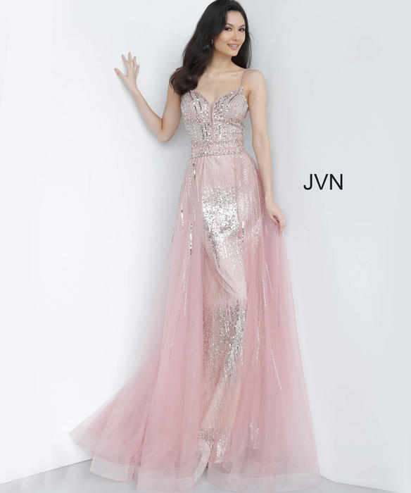 Jovani - 2pc Beaded Gown Spaghetti Strap