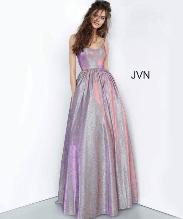 Jovani - Satin Metallic Spaghetti Strap Ball Gown