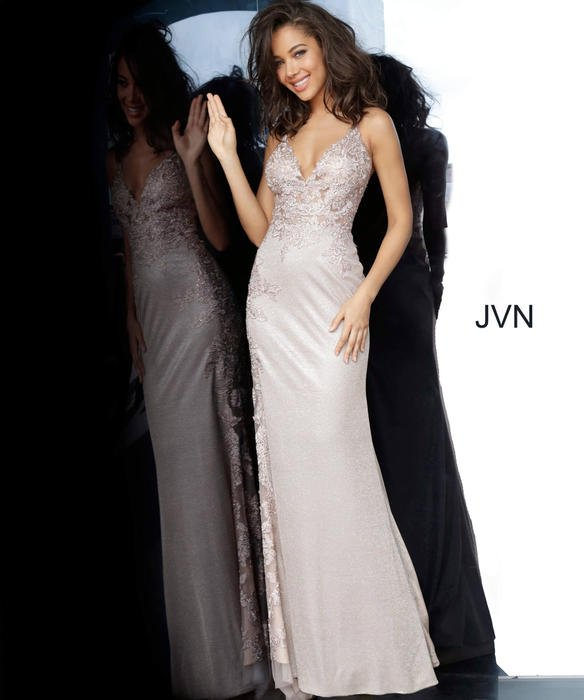 Jovani - Satin Metallic Embroidered Beaded Bodice Gown