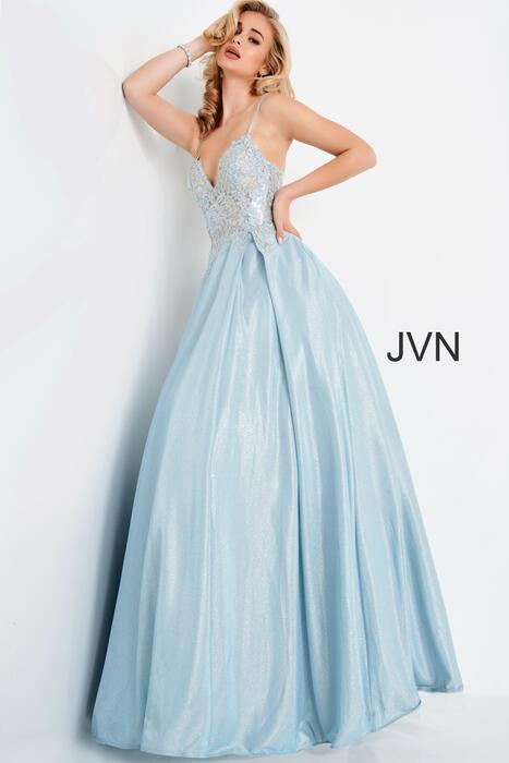 Jovani - Satin Metallic Embroidered Beaded Bodice Ball Gown