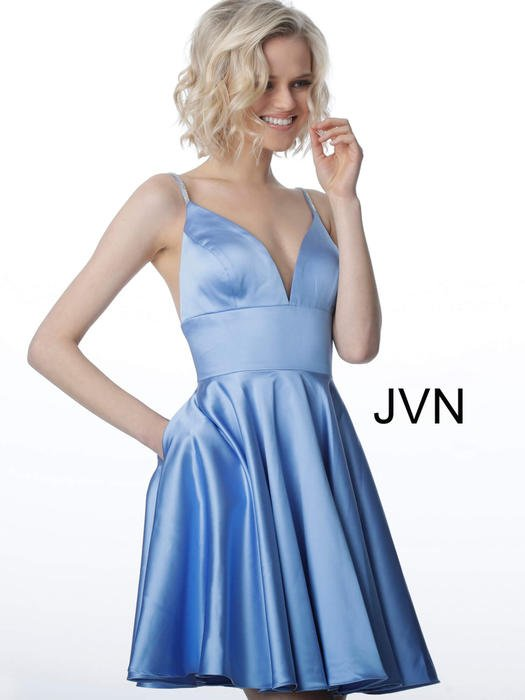 Jovani - Satin Dress-Bead Strap