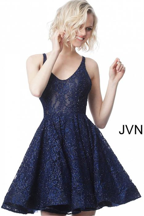 Jovani - Metallic Lace Dress-XX Back
