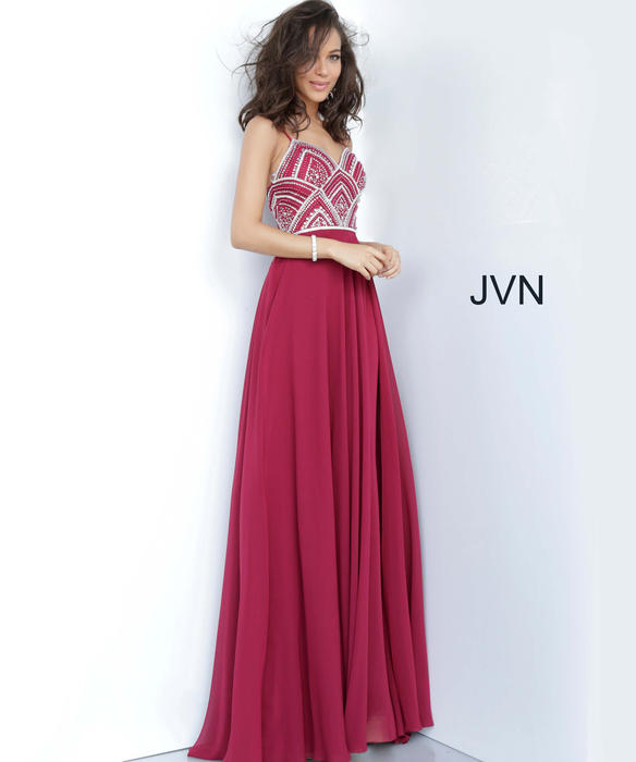 Jovani - Jersey Beaded Bodice Gown