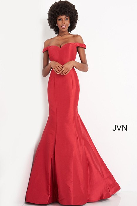 Jovani - Satin Off the Shoulder Gown