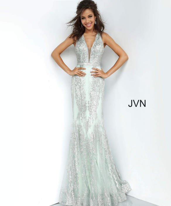 Jovani - Mesh Metallic Crack Ice Open Back Gown