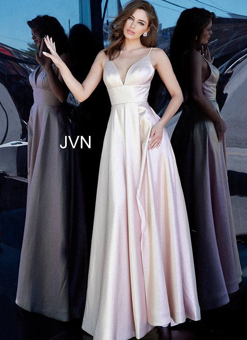 Jovani - Satin Metallic Beaded Spaghetti Strap Gown