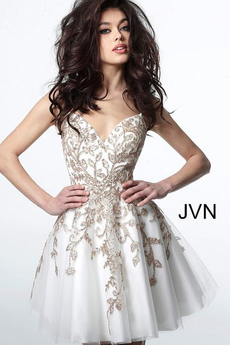 Jovani - Mesh Metallic Embroidered Dress