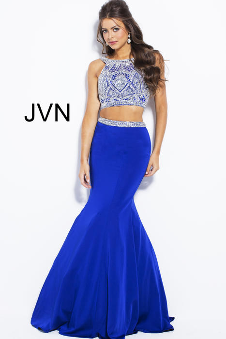 Jovani - Embellished Satin Two-Piece Mermaid Gown