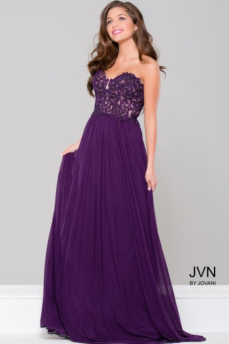 Jovani - Strapless Embroidered Chiffon Gown