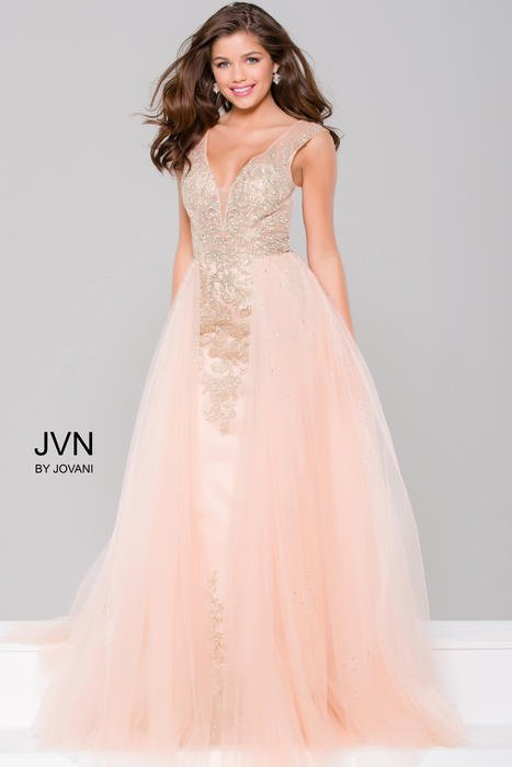 Jovani - Embellished Column Dress with Tulle Overlay