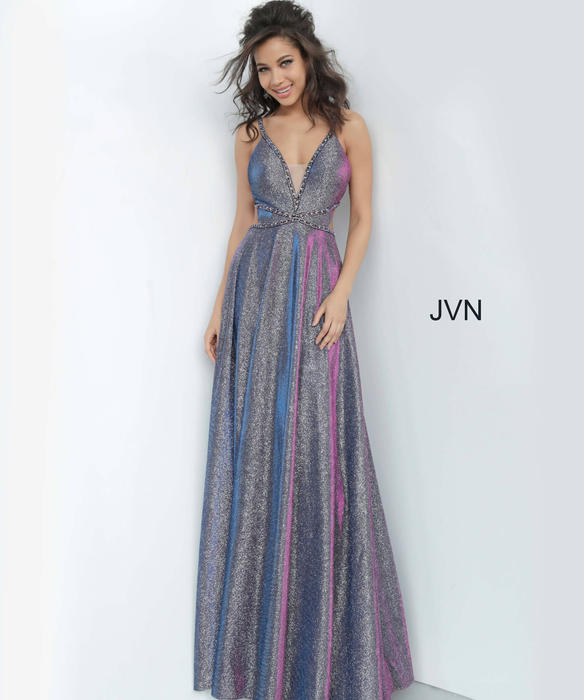 Jovani - Jersey Metallic X Open Back Gown
