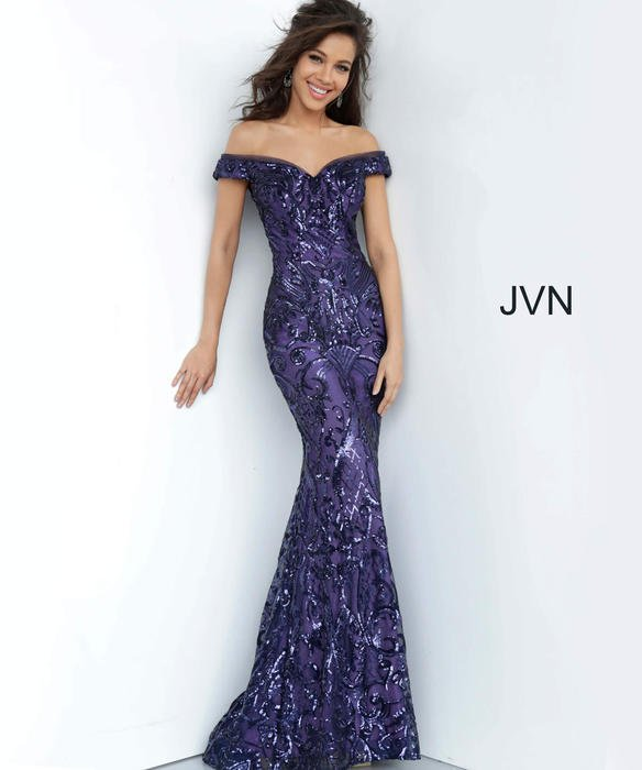 Jovani - Mesh Sequin Off the Shoulder Gown