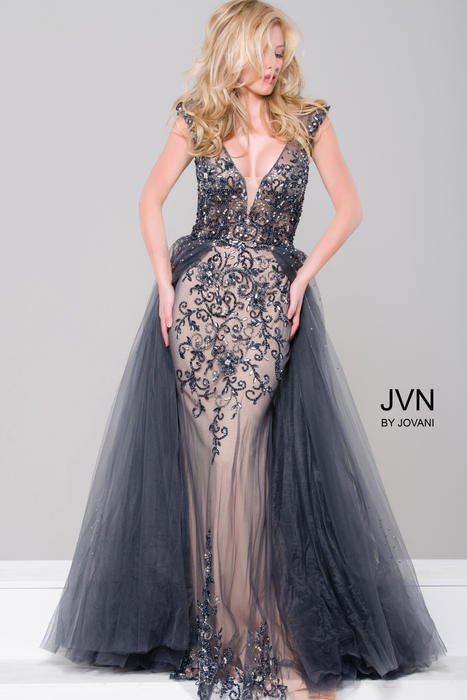 Jovani - Beaded Column Dress with Tulle Overlay