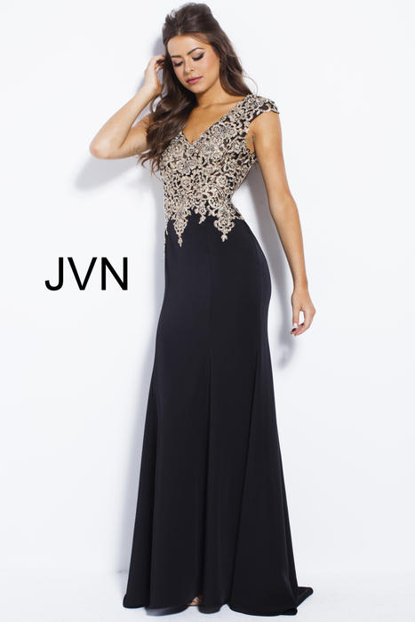 Jovani - Embroidered V-Neck Jersey Sheath Gown